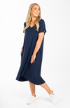 Plus Size Navy Bamboo T-Shirt Dress with Pockets.