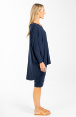 Long sleeve bamboo batwing top - Navy (side)