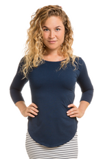 3/4 Sleeve Bamboo Top in Navy.
