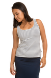 Soft and stretchy Women's Bamboo Scoop Neck Singlet Top in Navy & White Stripe..
