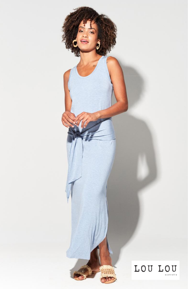 Baby Blue Bamboo Maxi Dress with Stylish Tie Detail.
