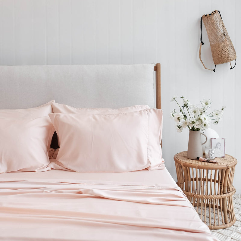 Soft Peach Bamboo Sheet Sets. 100% Organic, Luxuriously Soft. Super King, King, Queen, Double, King Single and Single Sizes.