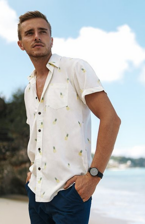 100% Bamboo Men's Short Sleeve Shirt. Pineapple print.