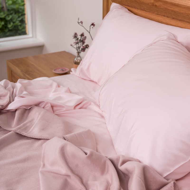 Soft Pink Bamboo Sheet Sets. 100% Organic, Luxuriously Soft. King, Queen, Double, King Single and Single Sizes.