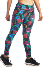 Black Full Length Bamboo / Organic Cotton Leggings in Red, Purple & Blue Floral Print.
