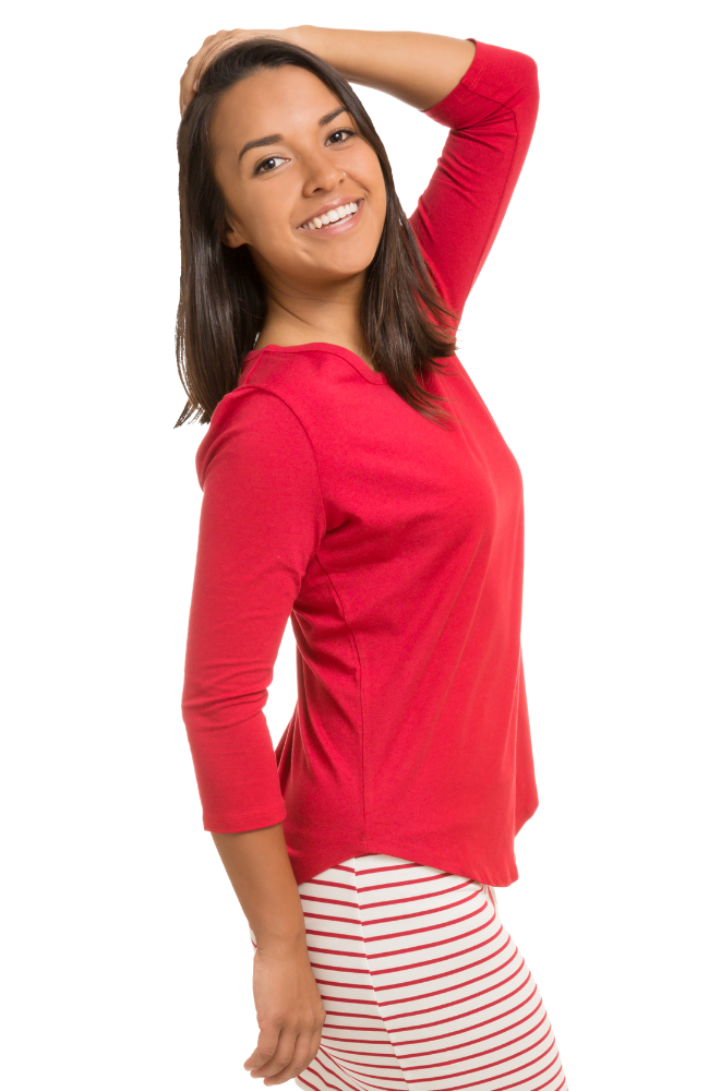 3/4 Sleeve Bamboo Top in Red.