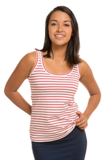 Soft and stretchy Women's Bamboo Scoop Neck Singlet Top in Red & White Stripe.