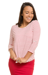 3/4 Sleeve Bamboo Top in Red & White Stripe.