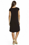 Reverse Shot of Black Bamboo Boat Neck Dress with Cap Sleeves. Knee Length.