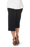 Reverse Shot of 3/4 Length Black Bamboo Resort Pants / Culottes. Relaxed Fit.