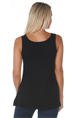 Reversible Black Relaxed Fit / A-Line Bamboo Singlet Top.