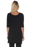 Reverse Image of Black Bamboo Tunic with 3/4 Length Sleeves. Scoop or Boat Neckline.
