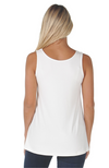 Reversible White Relaxed Fit Bamboo Singlet Top.