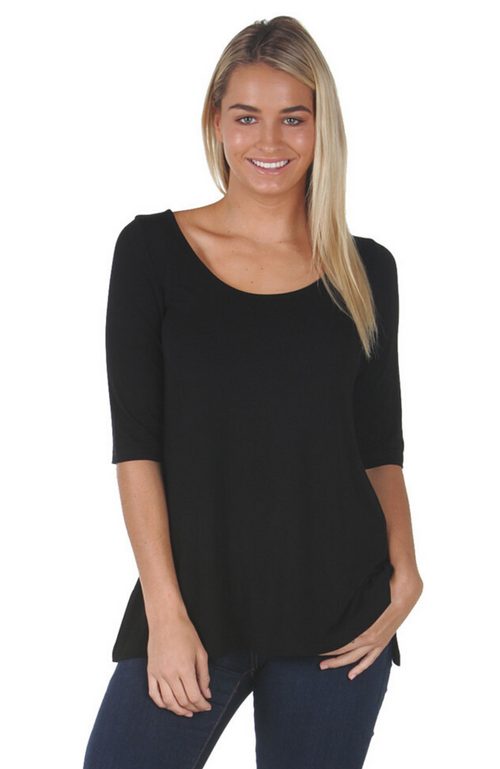Black Bamboo Longer Sleeve Top with Scoop Neckline.