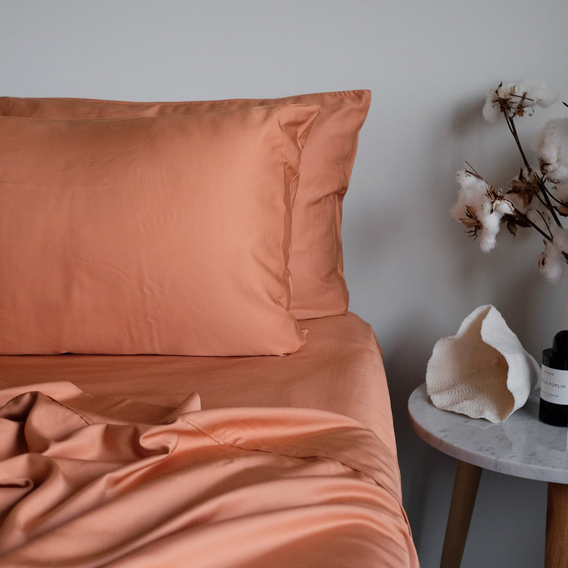 Earthy Rust / Sunrise Bamboo Sheet Sets. 100% Organic, Luxuriously Soft. Super King, King, Queen, Double, King Single and Single Sizes.