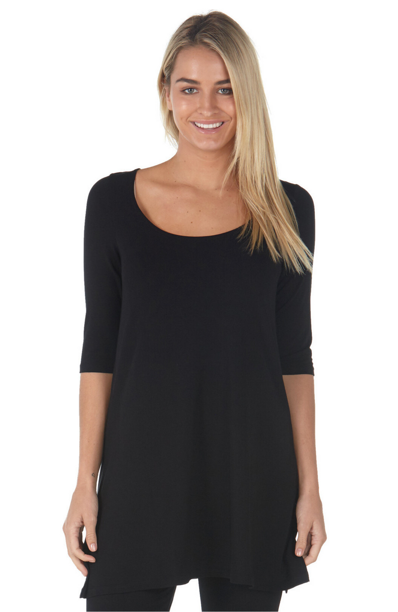 Reversible Black Bamboo Tunic with 3/4 Length Sleeves. Scoop or Boat Neckline.
