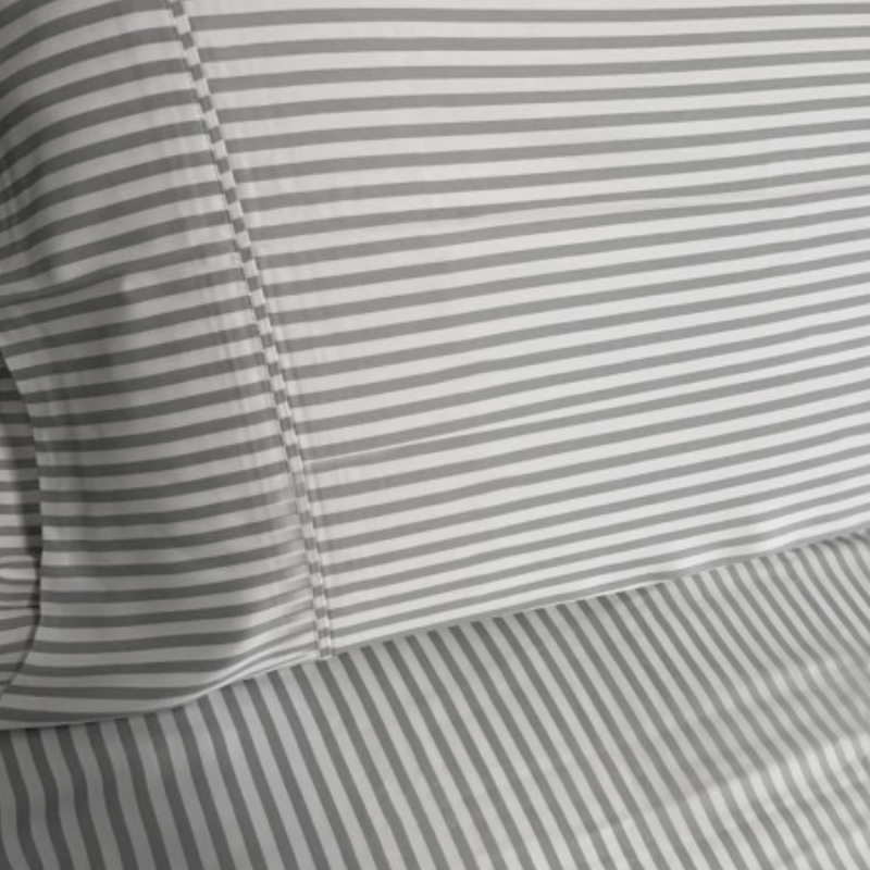 Soft Grey & White Stripe Bamboo Quilt Cover Set. 100% Organic, Luxuriously Soft. Queen Size.