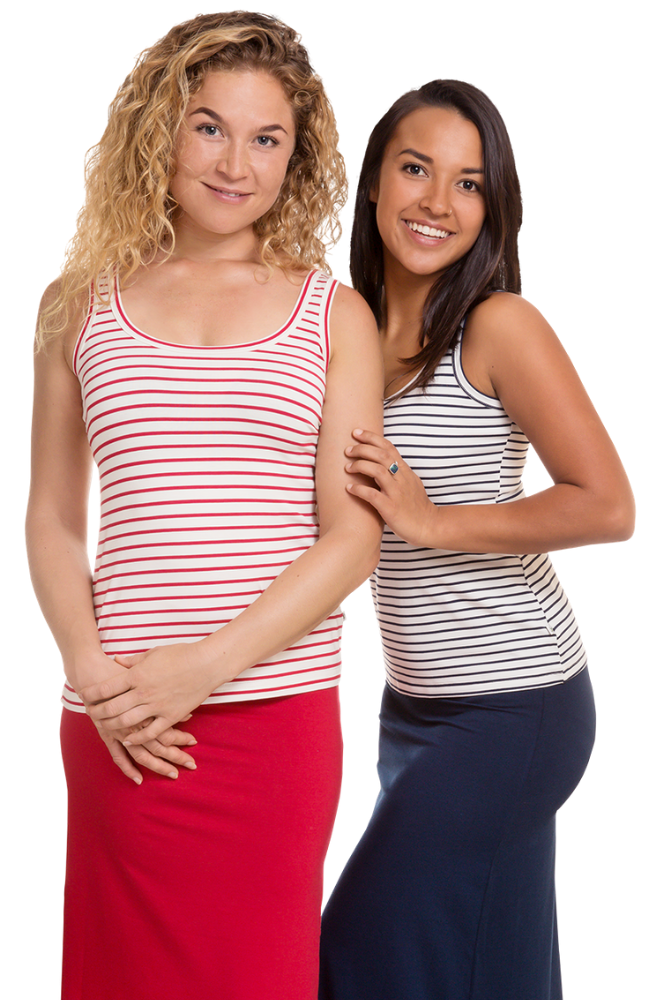 Soft and Stretchy Striped Women's Bamboo Scoop Neck Singlet Tops.