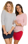 3/4 Sleeve Bamboo Tops in Navy & White and Red & White Stripe.Stripe.