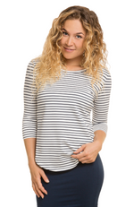 3/4 Sleeve Bamboo Top in Navy & White Stripe.