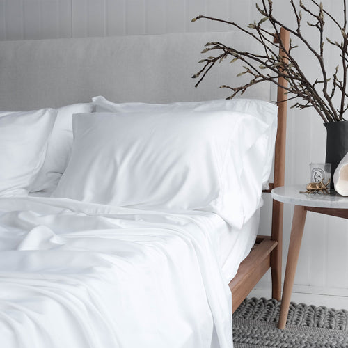 Pure White Bamboo Sheet Sets. 100% Organic, Luxuriously Soft. Super King, King, Queen, Double, King Single and Single Sizes.