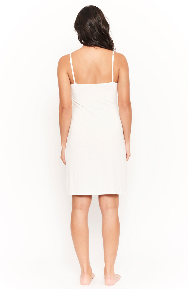White Bamboo Slip with Adjustable Straps