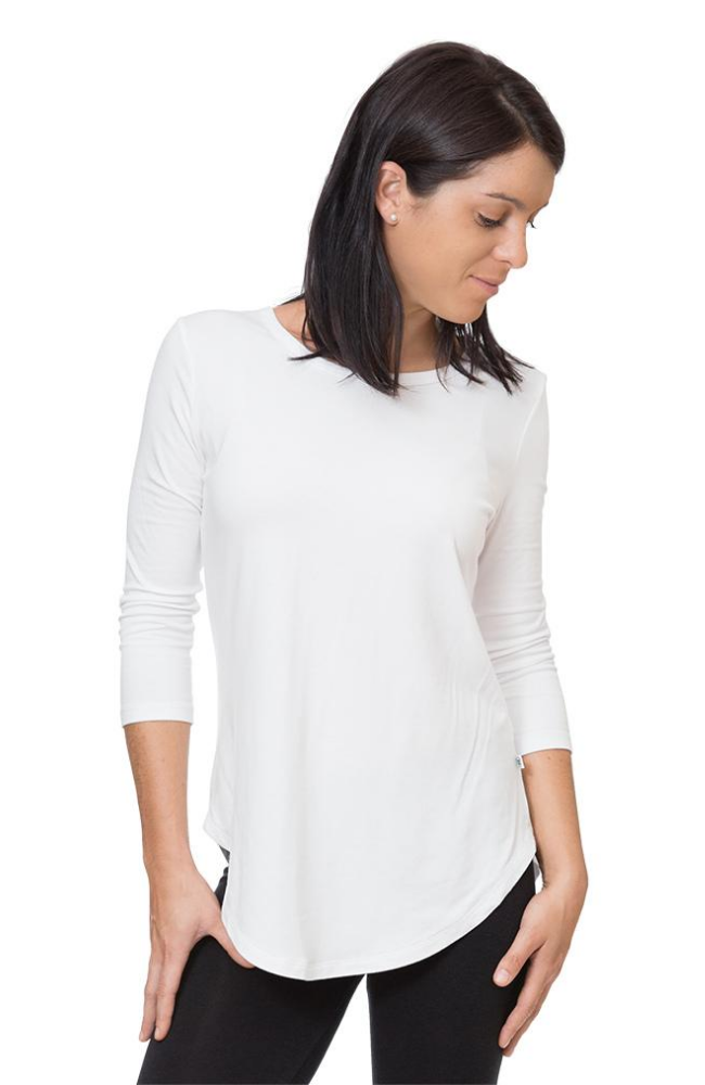 3/4 Sleeve Bamboo Top in White.
