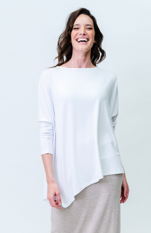 White Relax Bamboo Boatneck Top - Long Sleeve
