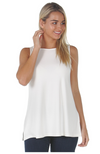 White Relaxed Fit Bamboo Singlet Top.