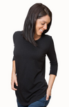 3/4 Sleeve Bamboo Top in Black.