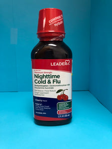 Leader Maximum Strength Nighttime Cold & Flu Cherry Flavor 12 FL oz