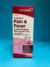 Load image into Gallery viewer, Leaders Children's Pain & Fever Bubble Gum Flavor 4 FL oz