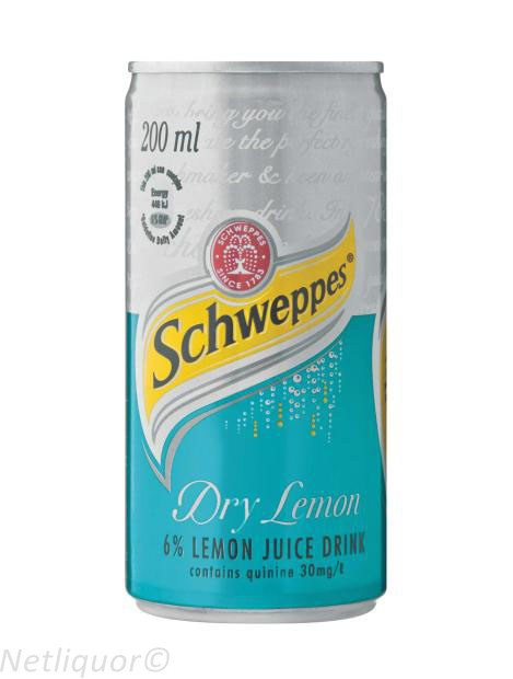 Schweppes Dry Lemon Can 200ml - 6 Pack