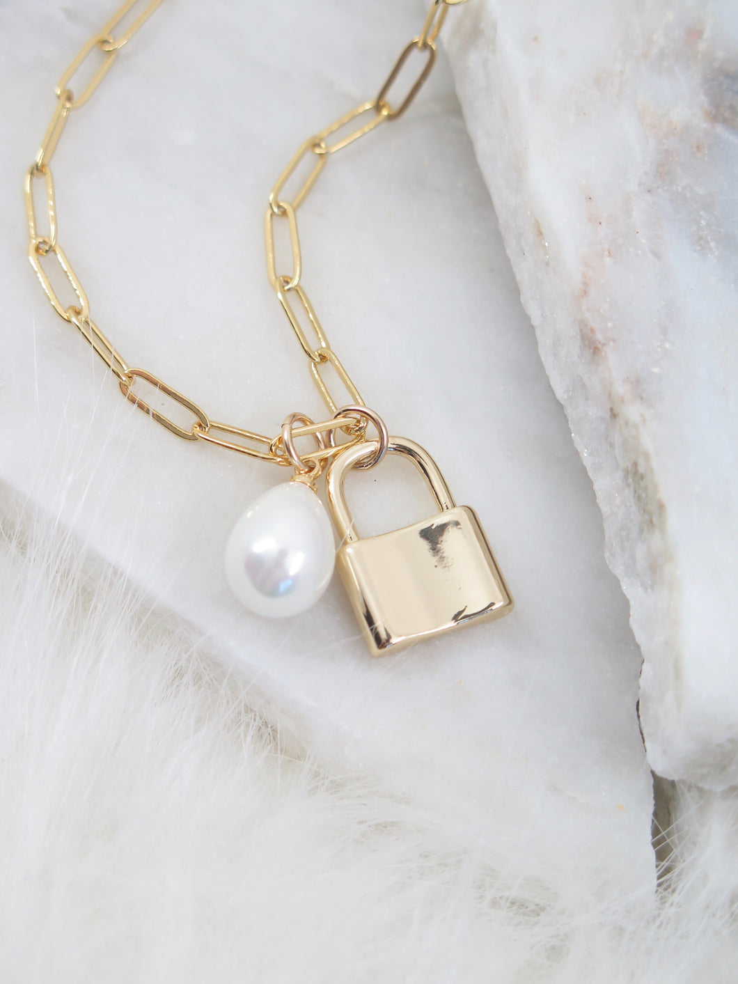 Padlock + Pearl Necklace