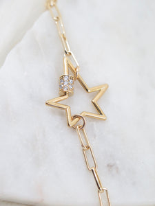Star Screw Paperclip Chain Necklace