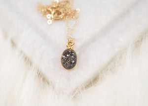 Black Druzy Oval Necklace