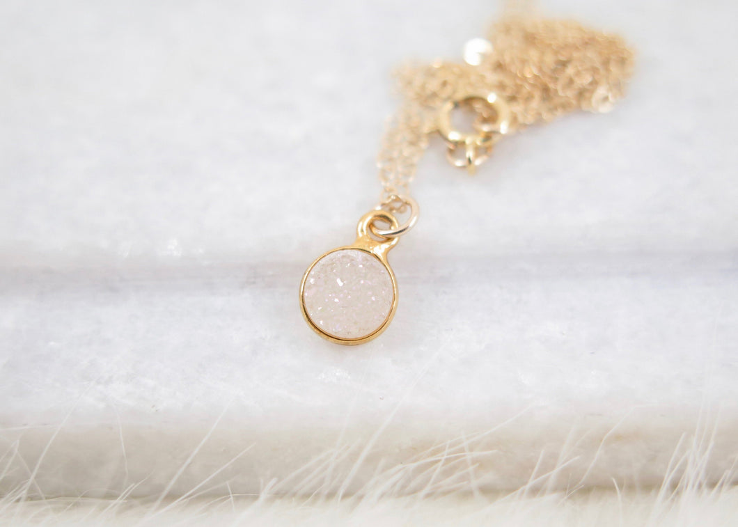 Tiny White Druzy Necklace