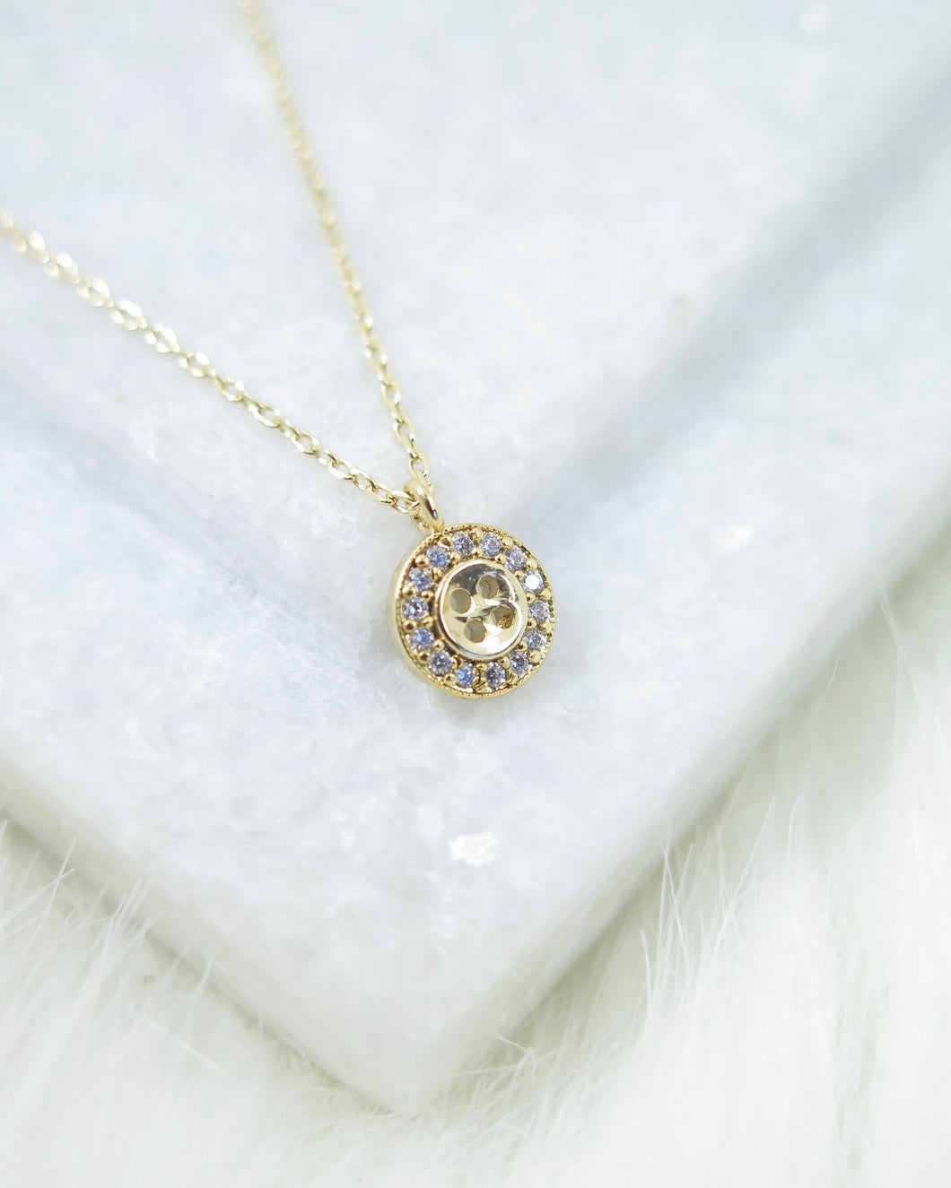 Gold Plated Tiny Button Necklace