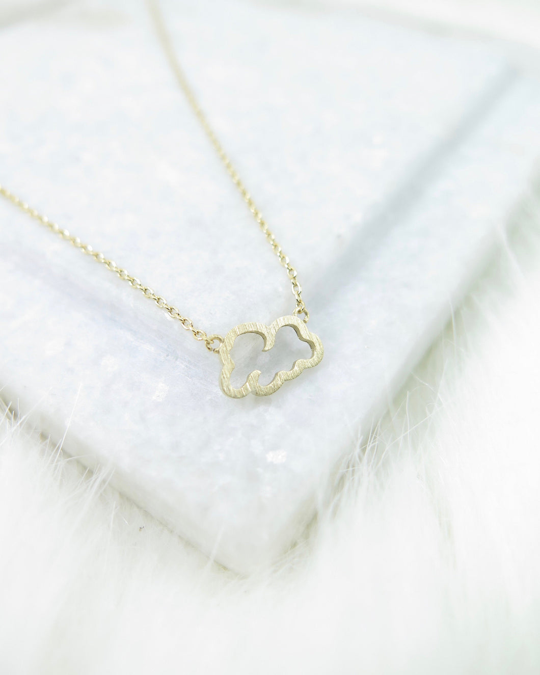 Gold Plated Tiny Cloud Necklace