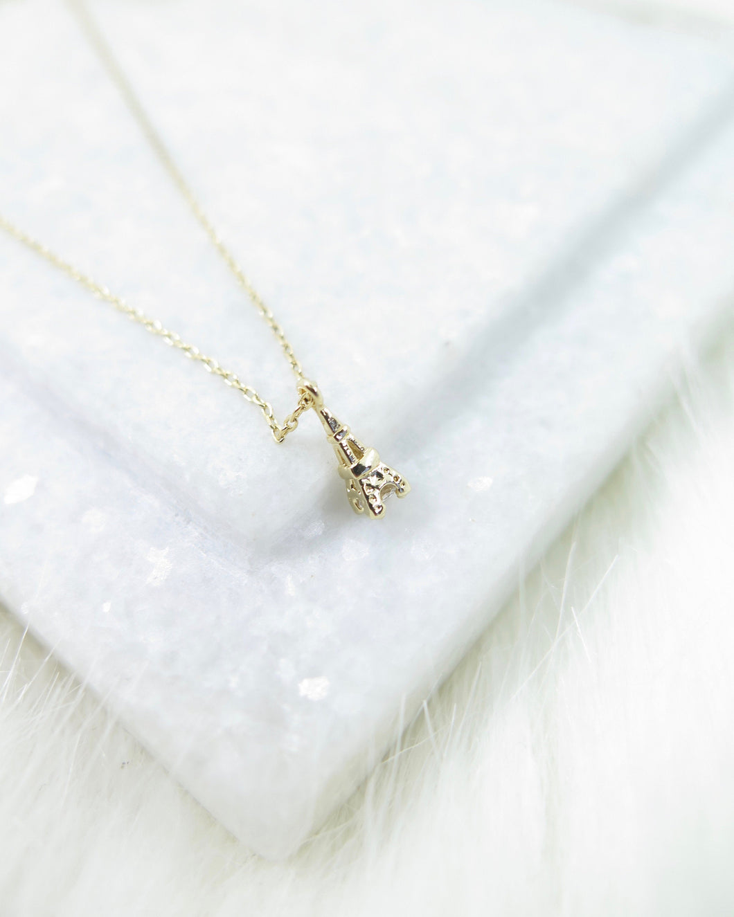 Gold Plated Tiny Eiffel Tower Necklace