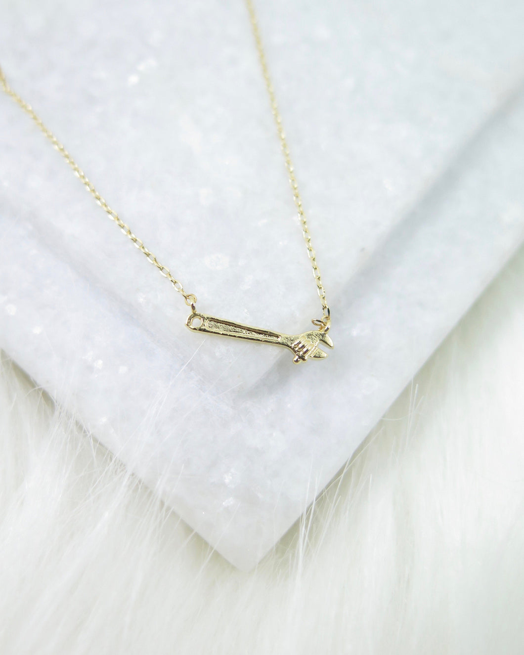 Gold Plated Tiny Wrench Necklace
