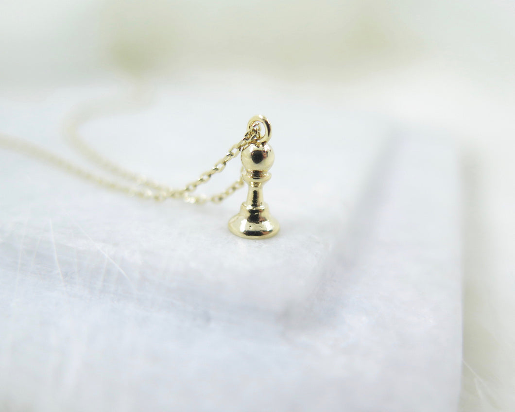 Gold Plated Tiny Chess Necklace