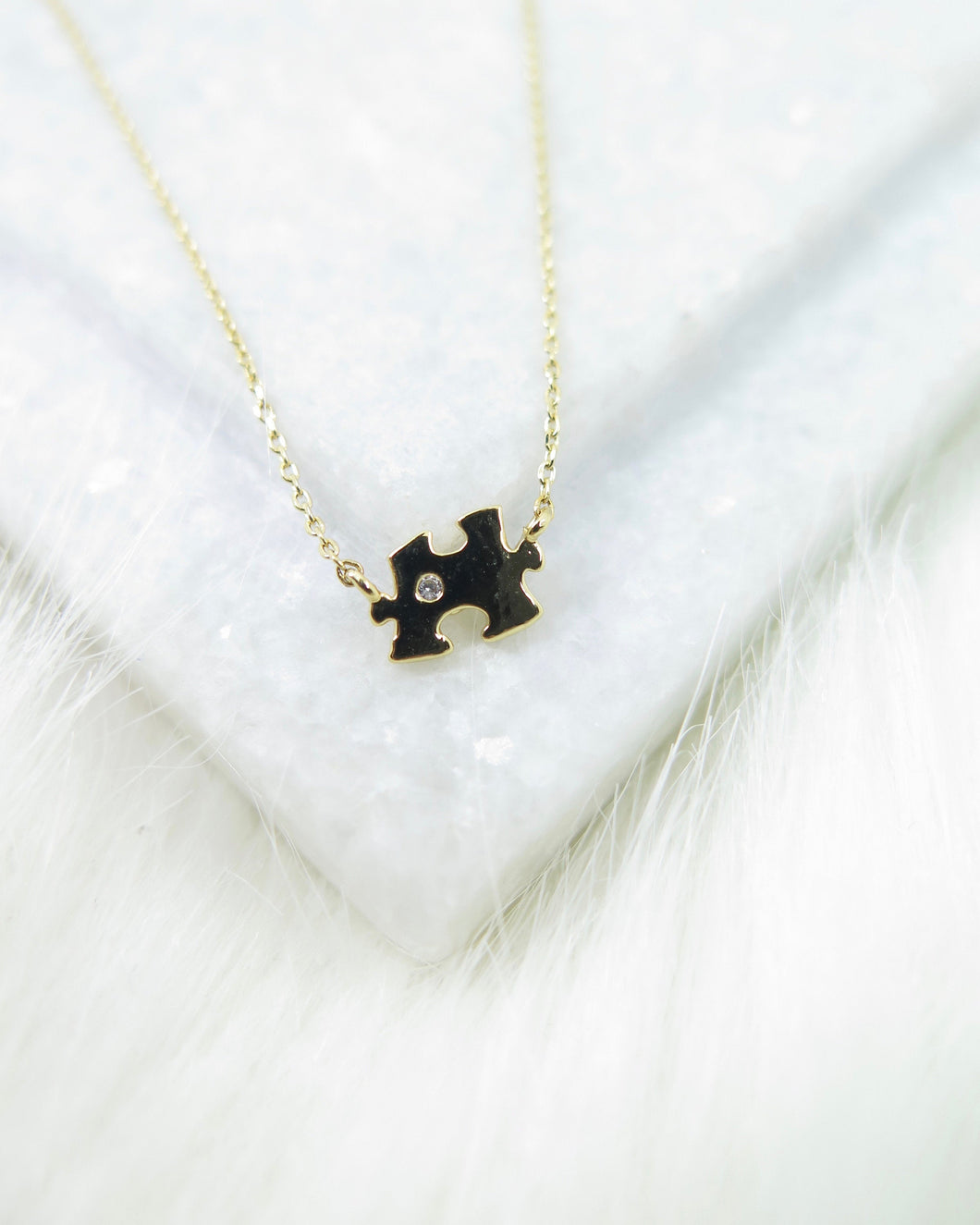 Gold Plated Tiny Puzzle Necklace