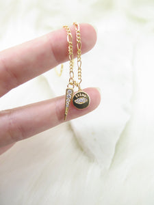 Small Coin Evil Eye Necklace
