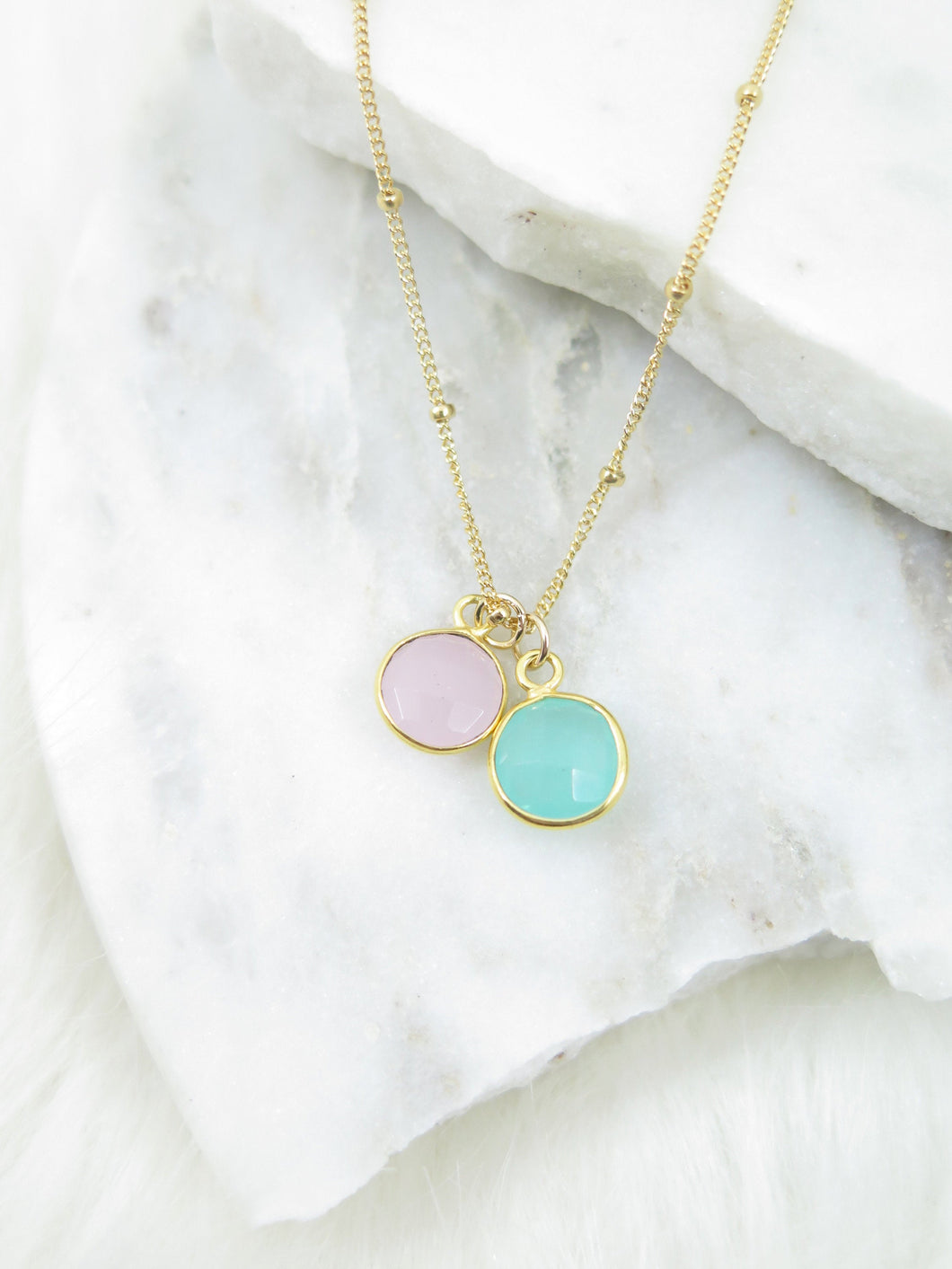 Tiny Round Gemstone Necklace