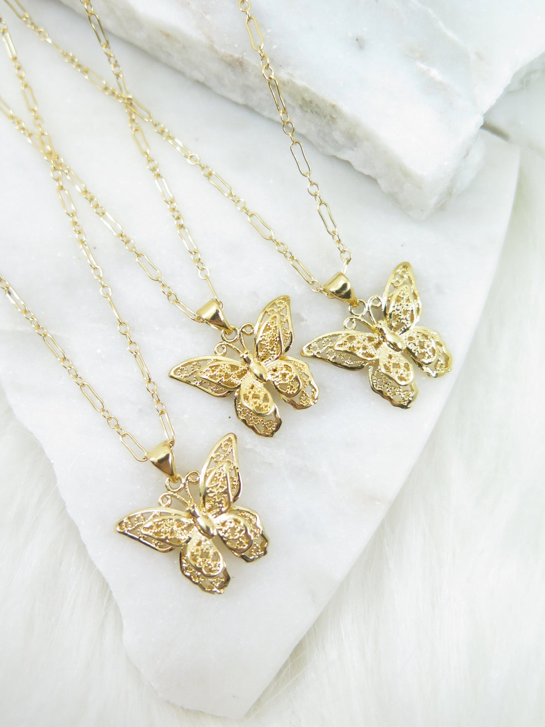 Gold Monarch Butterfly Necklace