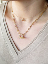 Load image into Gallery viewer, CZ Toggle Paperclip Chain Necklace