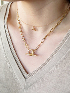 CZ Toggle Paperclip Chain Necklace
