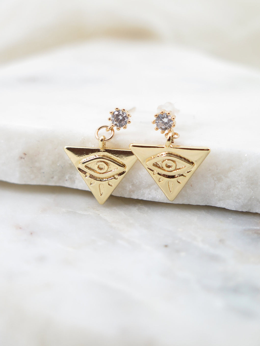 Triangle Evil Eye Earrings