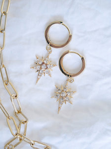 CZ Star Gold Earrings